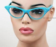 Rhinestone Cat Eye Womens Pinup Vintage Style Sun Glasses Blue RSC