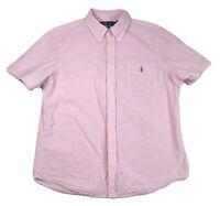 Polo Ralph Lauren Pink Seersucker Shirt Short Sleeve Men's Size L Large Cotton