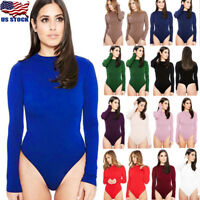 US Stock Women Long Sleeve Bandage Bodysuit Leotard Tops Blouse Jumpsuit Rompers