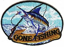 """(A3) Marlin Gone Fishing 3.5"""" x 2.5"""" iron on patch (4513) Cap Jacket"""