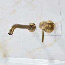 Antique Brass Wall Mount Bathroom Sink Faucet Single Handle Basin Faucet