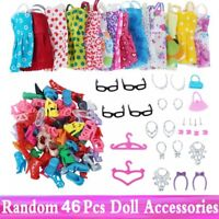46pcs/Set Doll Accessories Clothes Shoes Necklace Glasses For Barbie Doll Gift