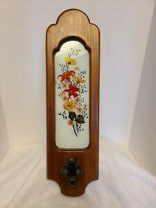 "Vintage Wooden Wall Candle Holder Sconce w/ Glass ~ Flower design 21"""