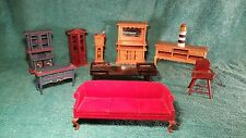 lot of vintage Miniature Dollhouse Furniture couch table lighthouse clock chair