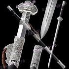 Folded Forging Chinese Sword Double Edge Sharp Han Tang KungFu Peony Saber Jian