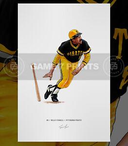 Willie Stargell Pittsburgh Pirates Baseball Illustrated Print Poster Art