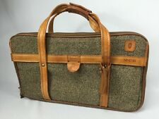 VINTAGE 'HARTMANN' LUGGAGE BROWN TWEED 3 SECTION ZIPPER TRAVEL OVERNIGHT BAG