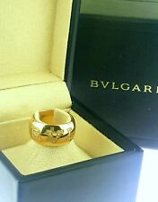 18k Rose Gold Bulgari Diamond Monologo wide band ring Box Size 53 US 6 1/4
