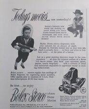 Vintage 1953 Bolex Stereo H-16 16MM Camera 1950's Print AD Spaceman Cowboy