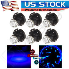 6pcs T4.2/T4 Neo Wedge Blue LED Bulb HVAC Heater Cluster Dash Climate Base Light