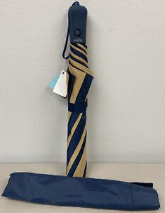 "NEW Compact Automatic Open Rainkist Khaki/Navy Blue Nylon Umbrella 43"" W/Cover"