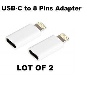 LOT of 2 USB-C (Female) to 8 pin (male) Adapter iPhone iPad iPod