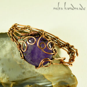 Women's Natural Purple Agate Crystal Wire Wrapped Copper Cuff Handmade Bracelet