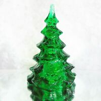"VTG Fenton Glass CHRISTMAS TREE FIGURINE 6.5"" Large Green Holiday Figure MINT!"