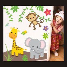 Safari Children's Decor Lion Zebra Multi Nursery Bedroom Wall Stickers Art 125 XBig 120cm/110cm