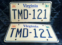 VINTAGE 1991 VIRGINIA LICENSE PLATES  TMD-121- SET OF 2