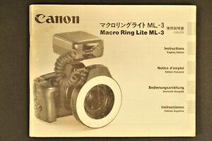 Canon Macro Ring Lite ML-3 Bedienungsanleitung (D, E, F, S, J)
