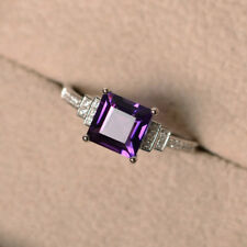 Amethyst 1.90 CT Gemstone Rings Solid 14kt White Gold Ring Size J K M N O