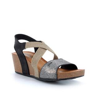 -50% Sandali IGI&CO Zeppa sughero beige nero grigio pelle nabuk elastico 5199600