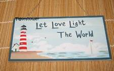Wood Sign Plaque Decor Country LIGHTHOUSE beach Let Love Light the World