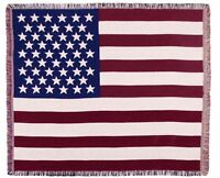 """AMERICAN FLAG Patriotic Tapestry Throw Blanket, 60"""" x 50"""", by Simply Home"""