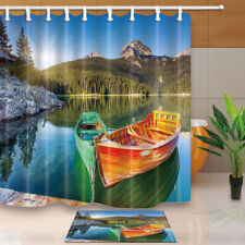 Colored Boats In Landscape Bathroom Waterproof Fabric Shower Curtain Set 71 Inch