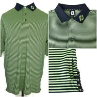 FootJoy FJ Collar Mens Size XL Green Black Blue Striped S/S Golf Polo Shirt EUC