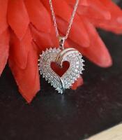 "1.00 Ct Diamond Cluster Heart Love Pendant 14K White Gold GP 18"" Valentine Day"