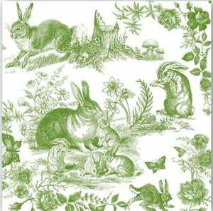 Two (2) Paper Cocktail Napkins for Paper Crafts, Bunny Toile, Green & White
