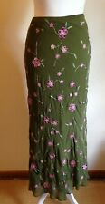 "BODEN: Long Silk Skirt Slinky Khaki Green w Embroidered Flowers; Sz 12L (L: 32"")"