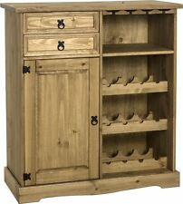 CORONA Wine Rack Cabinet Sideboard in Distressed Waxed Pine - by Seconique