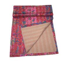 Vintage Patchwork Flor Kantha Quilt Handmade Cotton King Bedspread Throw Blanket