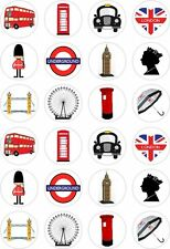 24 London Bus Union Jack British Cupcake Cake Toppers Edible Rice Wafer Paper