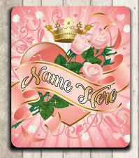 **MOUSE PAD - PINK ROSES WITH PRINCESS CROWN - QUALITY! PERSONALIZED FREE!**