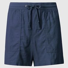 Fa M Ou S High St Store Women's M S Linen Rich Navy Blue Casual Shorts RRP £15
