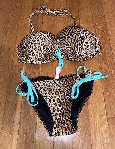 Victorias Secret Bombshell Bikini Leopard Print 34D & Small