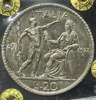 20 LIRE Littore 1928 qFDC Periziata - Italy Rare aUNC Silver Coin Expertise