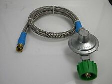 "Gas Grill LP Regulator Commercial High Capacity Propane Stainless Hose 23.5"" New"
