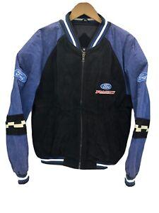 Vintage Essex Ford Racing NASCAR Leather Blue Black Bomber Jacket Size Medium