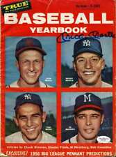 Mickey Mantle Signed 1956 Baseball Yearbook  Jsa Authenticated Autograph