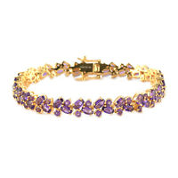 "925 Sterling Silver Gold Over Amethyst Tennis Bracelet Gift Size 7.25"" Ct 11.7"