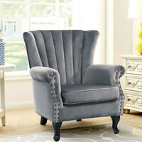 Occasional Chesterfield Wing Backed Armchair Lounge Fabric Velvet Tub Chair Seat