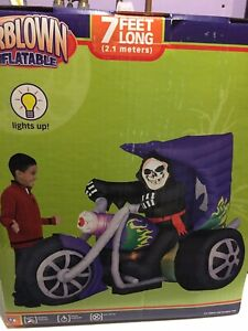 Gemmy Airblown Inflatable 7ft Halloween Skeleton Trike Yard Inflatable