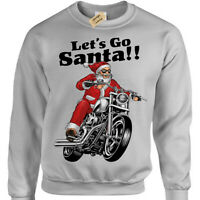 Let's Go Santa christmas jumper mens womens biker motorcycle