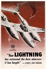 1940s Lockheed P-38 Lightning Air Force WWII Historic War Poster - 16x24