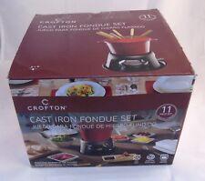 Fondue Set Brick RED Cast Iron 11 Piece w/ 6 Forks By Crofton BRAND NEW ALDI's