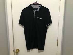 Ted Baker London Mens Polo Shirt SZ 4 Medium Black White Trim Short Sleeves