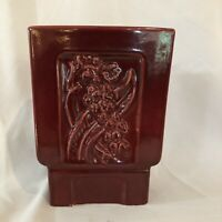 """Fabulous Red Wing Mid Century Red Wing Rectangular Marroon Grey 8"""" Vase"""