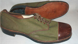 -WWII- 1943 -Canadian Army- Vintage Canada Canvas/Leather Military Uniform Shoes