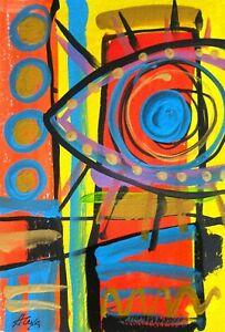 "Original painting abstract art lines home decor gift design graffiti wall 7.5x5"""